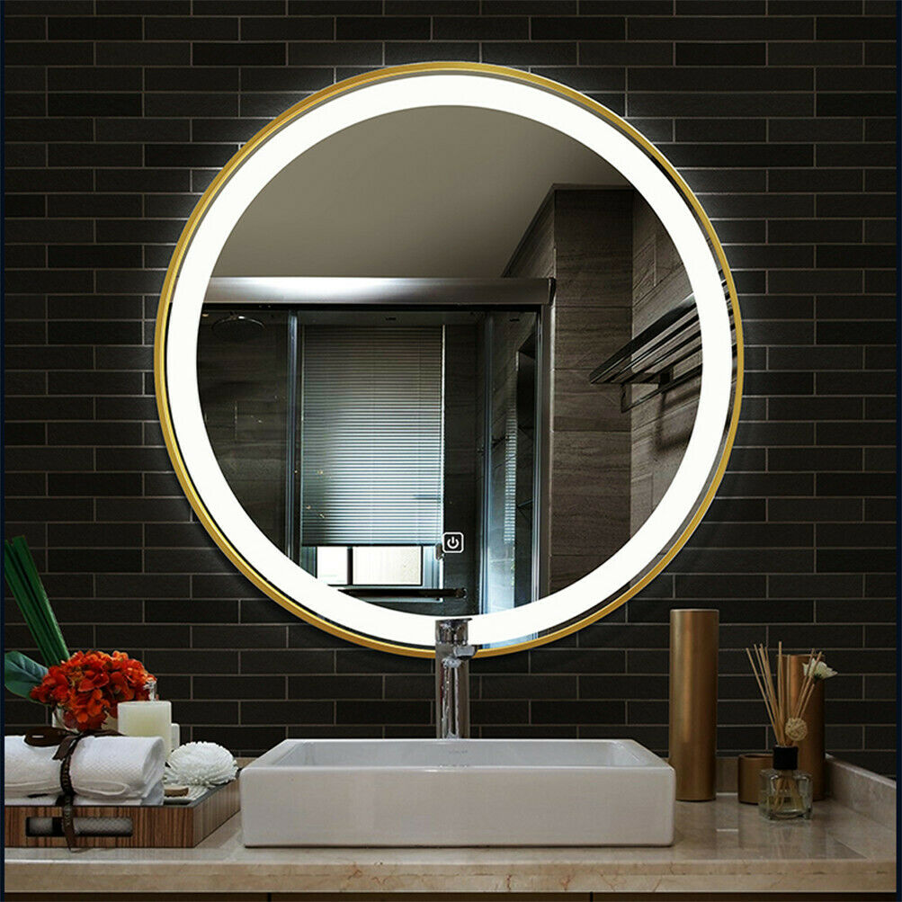 Led Lighted Round Wall Mount Or Hanging Mirror Bathroom