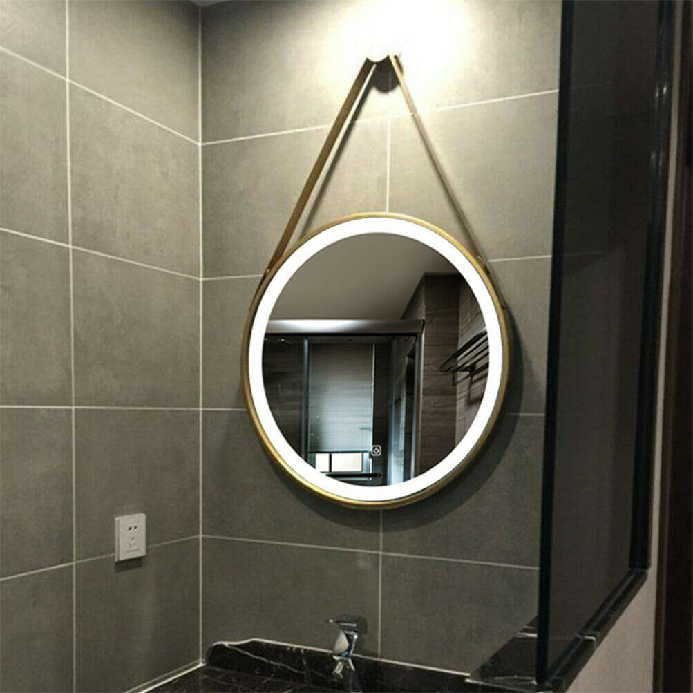 Led Lighted Round Wall Mount Or Hanging Mirror Bathroom Vanity Mirror Gold Frame Premium Quality Bathroom Furniture Solution