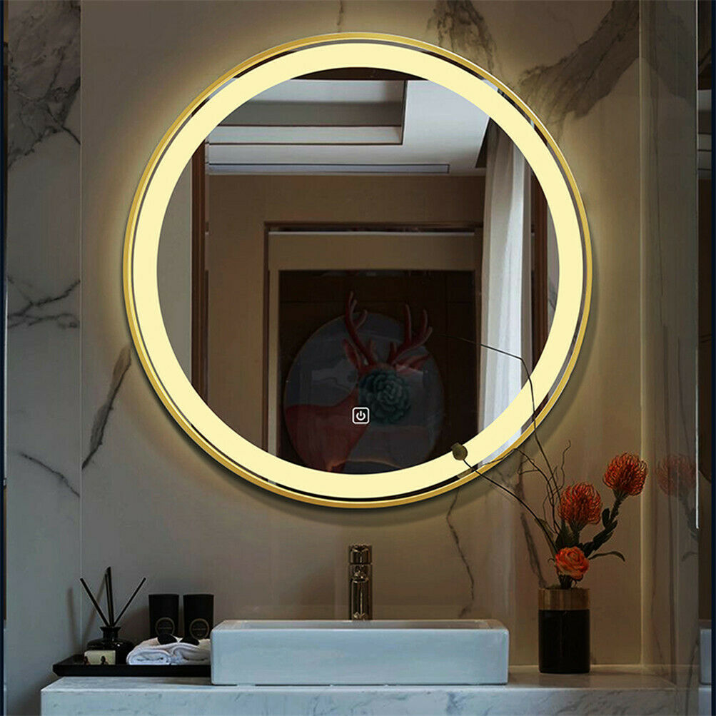 LED Lighted Round Wall Mount or Hanging Mirror Bathroom ...